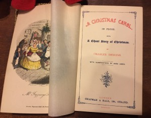 first edition of A Christmas Carol, frontis and title page with tissue guard